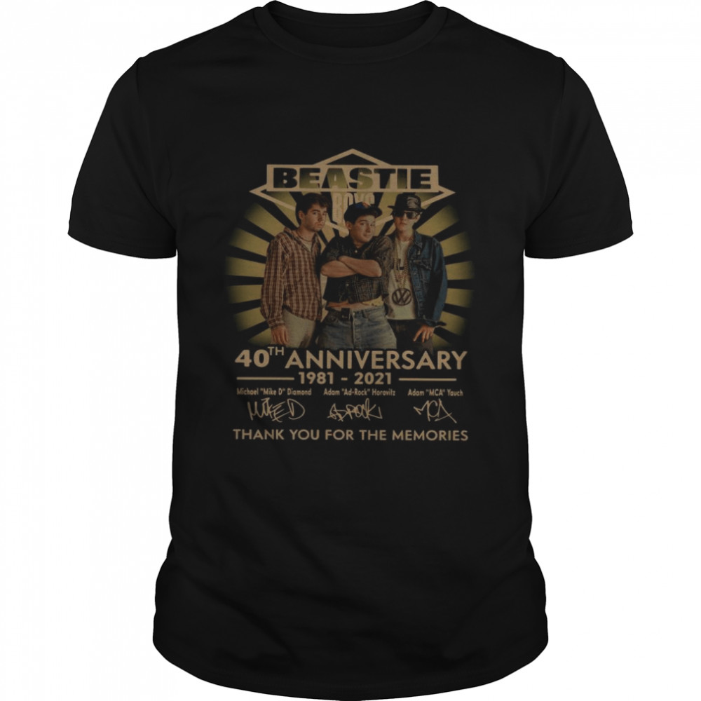 Beastie Boys 40th Anniversary 1981 2021 Thank You For The Memories Signatures shirt Classic Men's