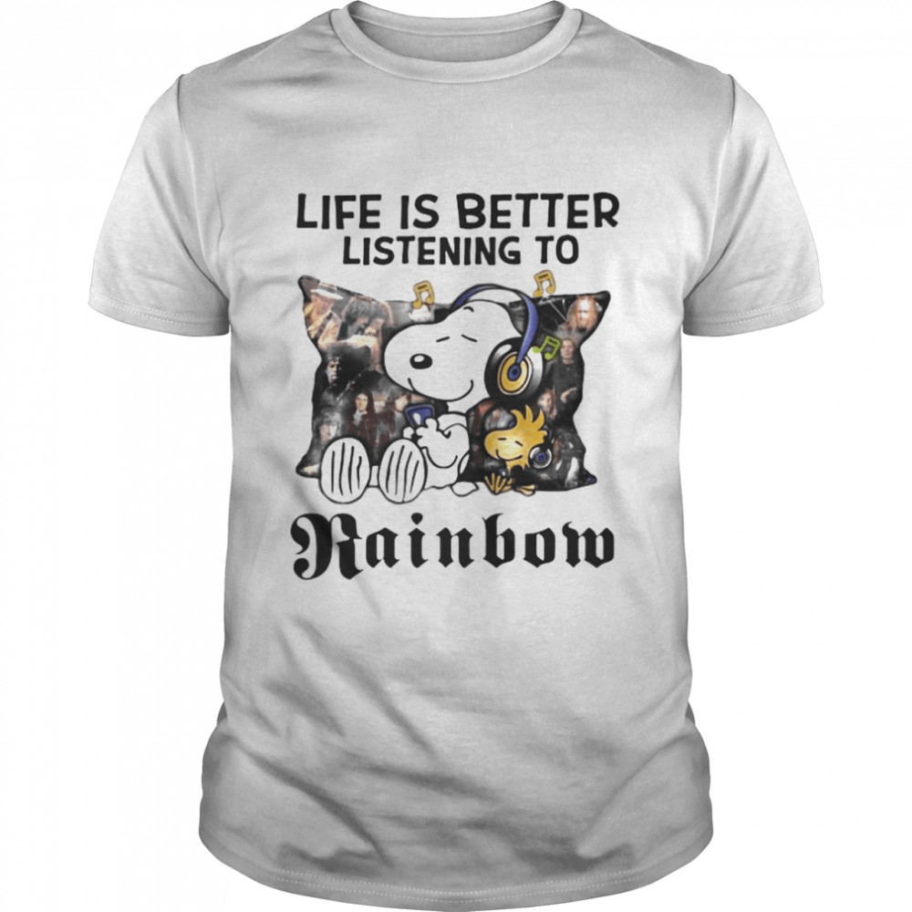 Life Is Better Listening To Rainbom Snoopy And Woodstock shirt Classic Men's