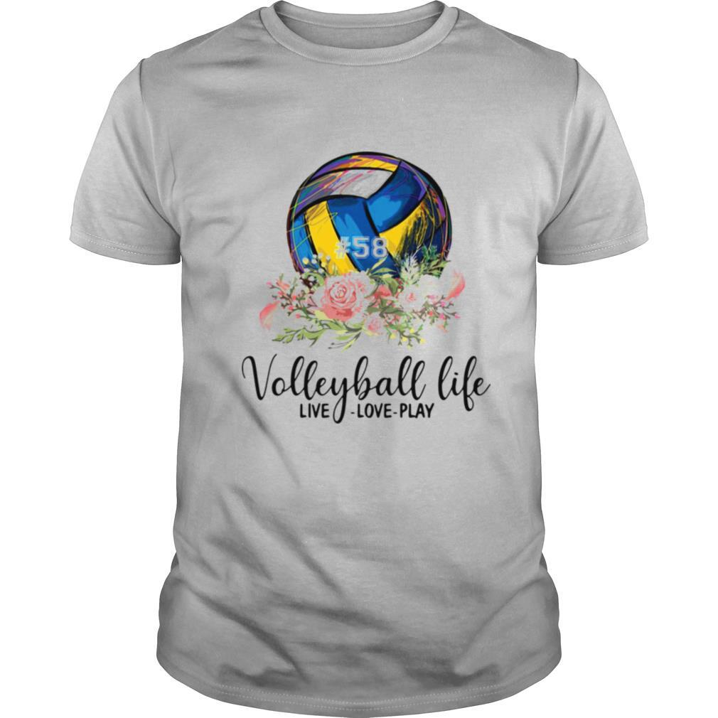 #58 volleyball life live love play floral shirt Classic Men's