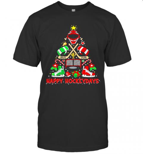Happy Hockey Days Ice Hockey Christmas Tree Christmas shirt Classic Men's