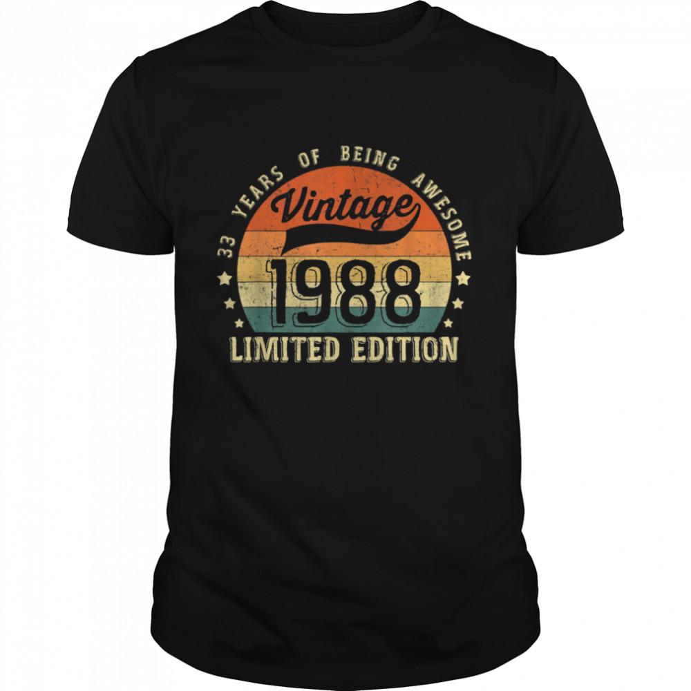 Vintage 1988 33rd Birthday shirt Classic Men's