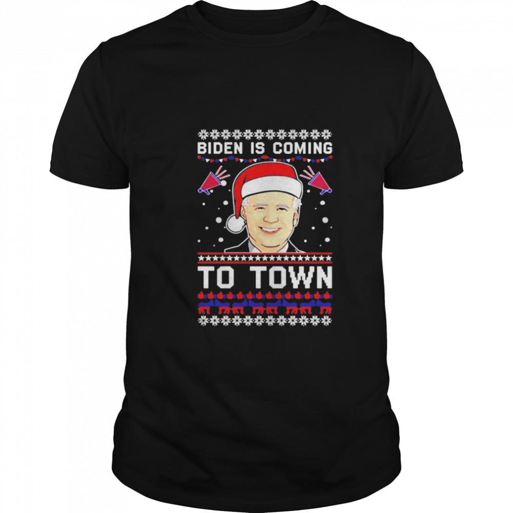 Biden Is Coming To Town Christmas shirt Classic Men's