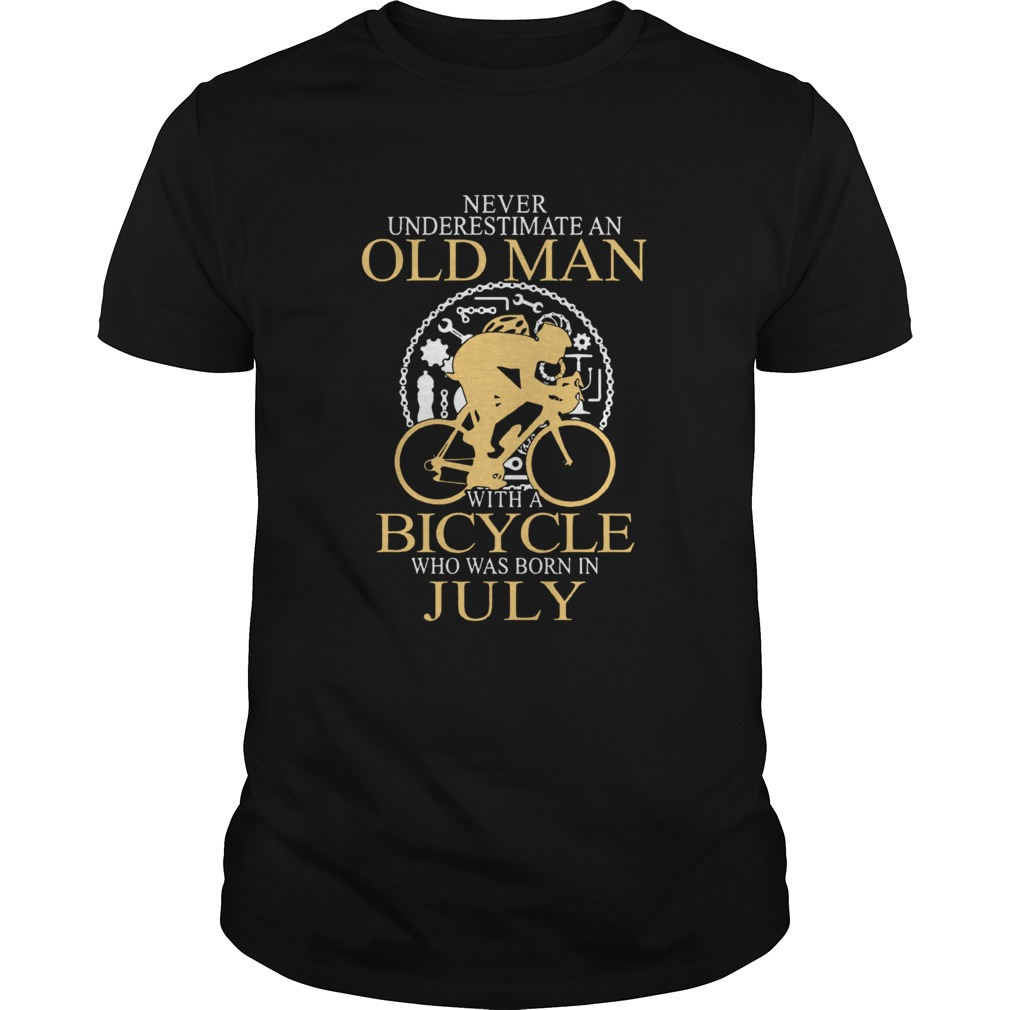 Never Underestimate An Old Man Bicycle Who Was Born In July shirt Classic Men's