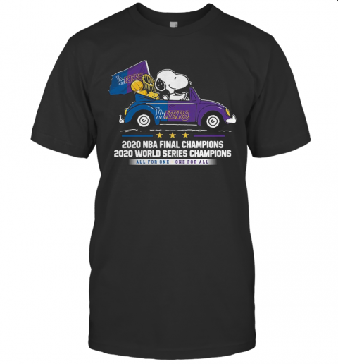 Snoopy And Woodstock Car Los Angeles Dodgers 2020 NBA Final Champions shirt Classic Men's