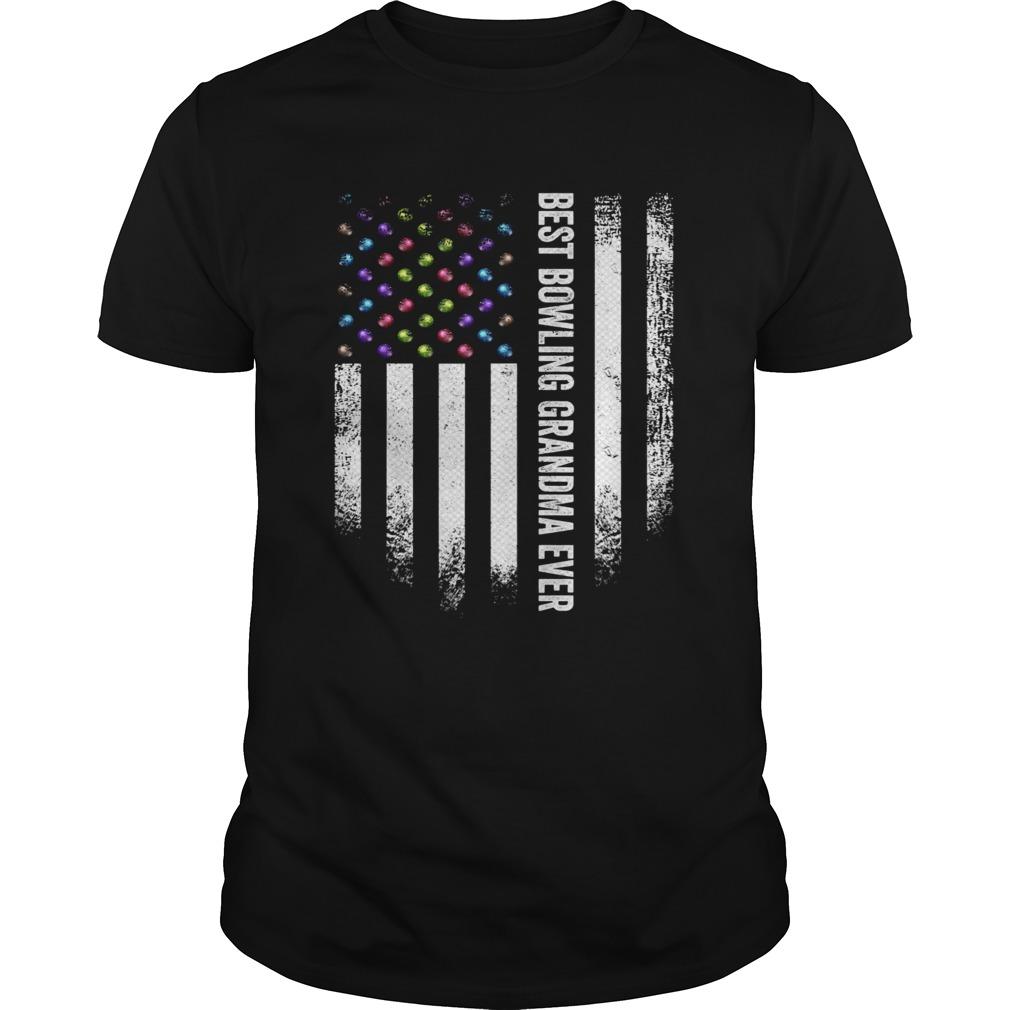 Vintage USA American Flag Best Bowling Grandma Ever Bowler shirt Classic Men's