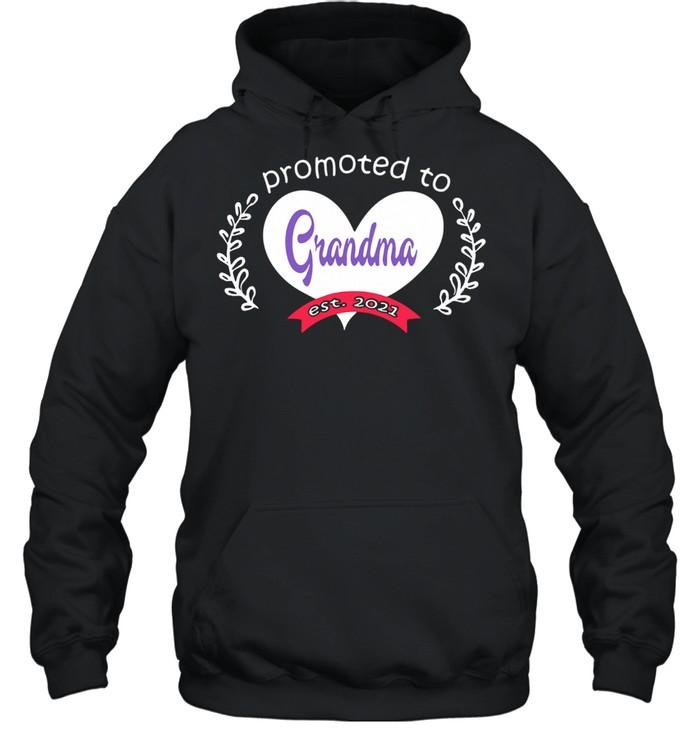 Heart promoted to grandma est 2021 shirt Unisex Hoodie