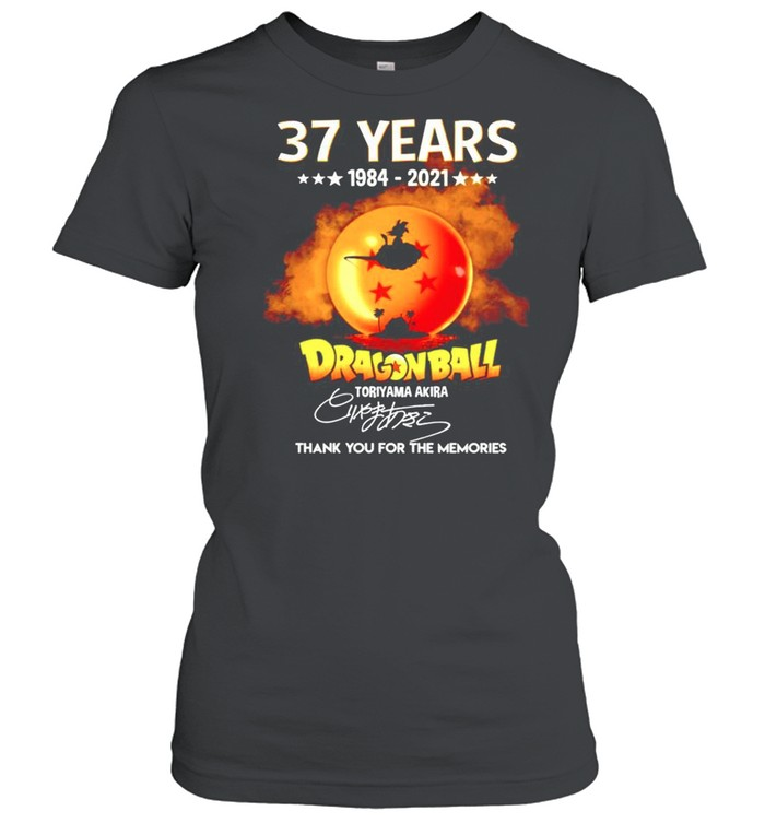 37 years Dragon Ball 1984-2021 Toriyama Akira signature thanhk you for the memories shirt Classic Women's T-shirt