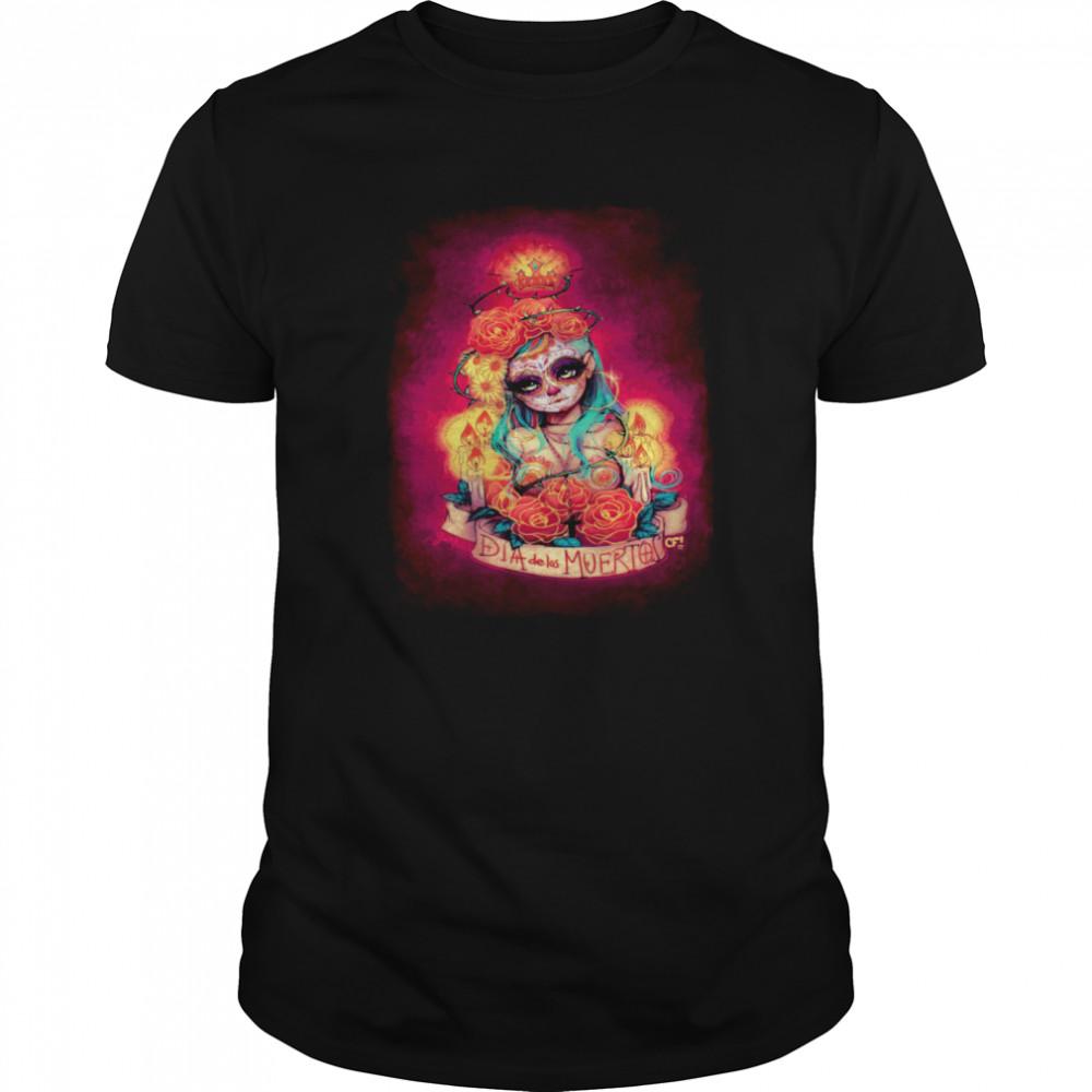Día De Los Muertos Day Of Dead Sugar Skull Girl shirt Classic Men's