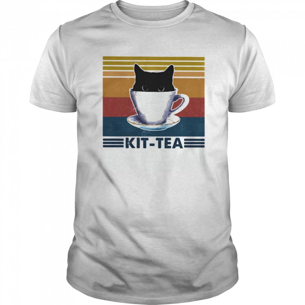 Black cat kit tea vintage retro shirt Classic Men's