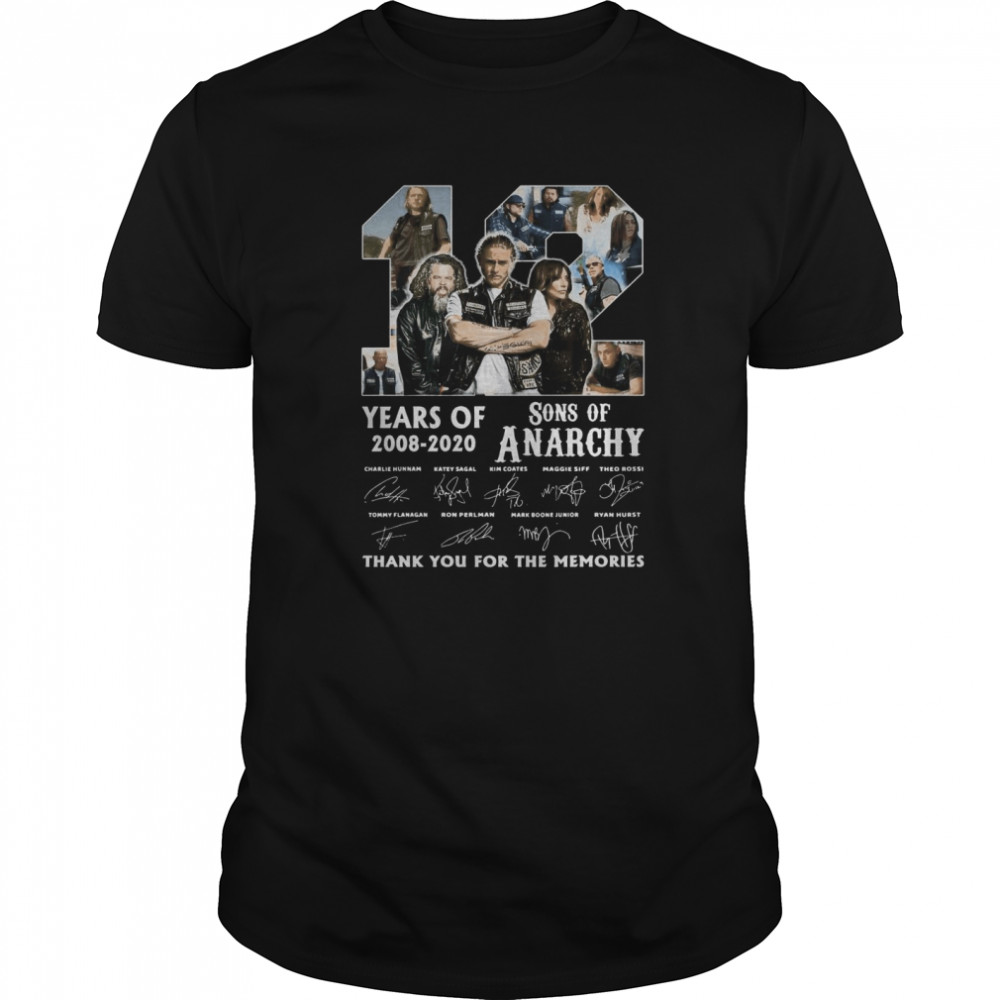 12 Years Of 2008 2020 Sons Of Anarchy Thank You For The Memories Signature shirt Classic Men's