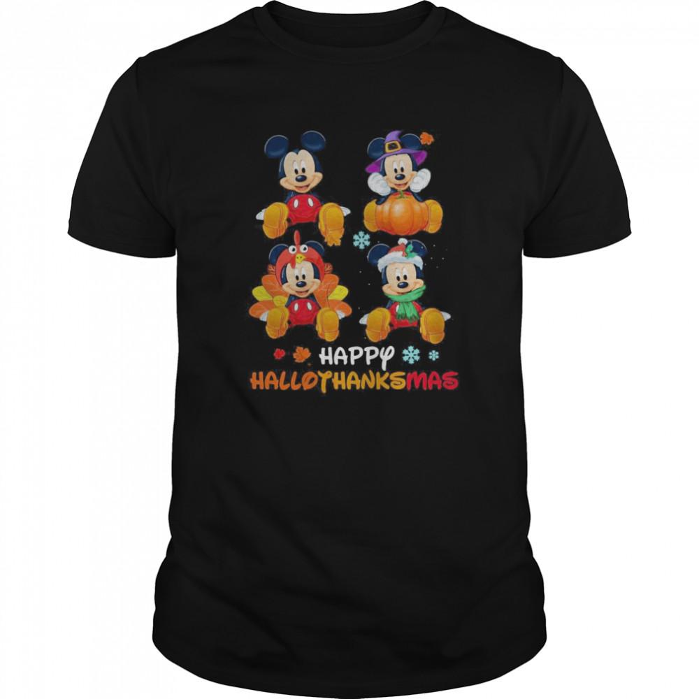 Mickey Mouse Disney Halloween And Merry Christmas Happy Hallothanksmas shirt Classic Men's