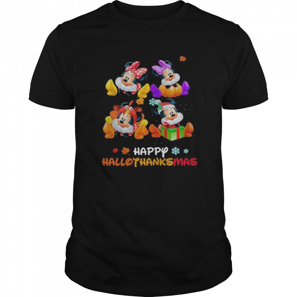 Minnie Disney Halloween And Merry Christmas Happy Hallothanksmas shirt Classic Men's