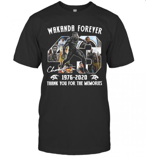Chadwick Boseman Black Panther Wakanda Forever 43 Years 1976 2020 Thank You For The Memories Signature shirt Classic Men's