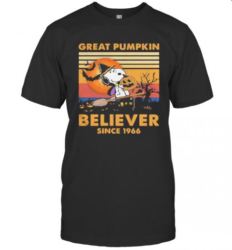 Halloween Snoopy Witch Great Pumpkin Believer Since 1966 Vintage Retro shirt Classic Men's