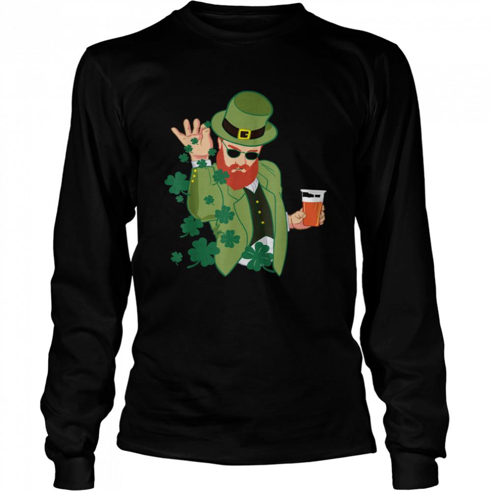 Leprechaun throwing shamrocks shirt Long Sleeved T-shirt