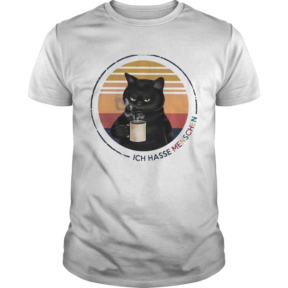 Black Cat Drink Coffee Ich Hasse Menschen Vintage Retro shirt Classic Men's