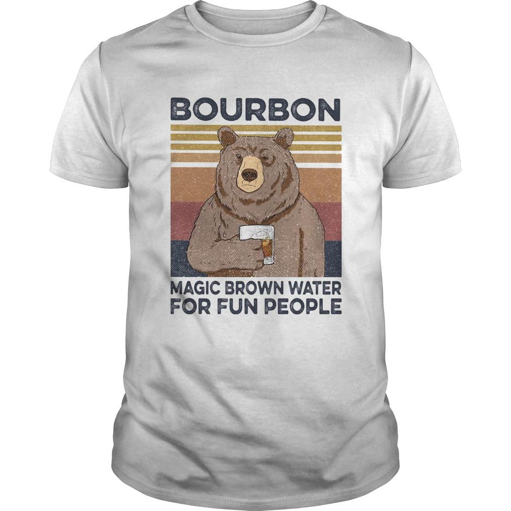 Bear bourbon magic brown water for fun people vintage retro shirt Classic Men's