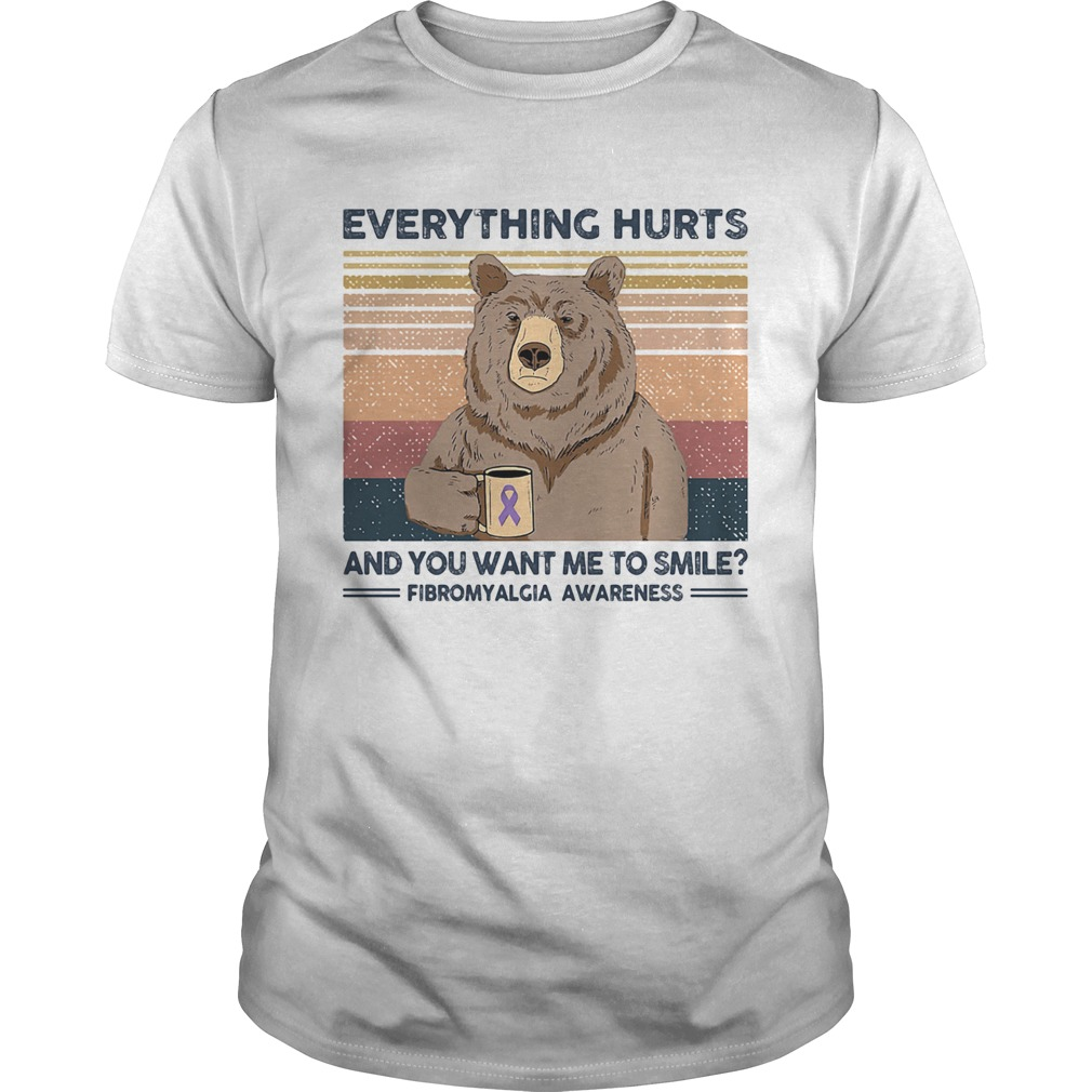 Bear Everything hurts and you want me to smile Fibromyalgia Awareness Vintage retro shirt Classic Men's