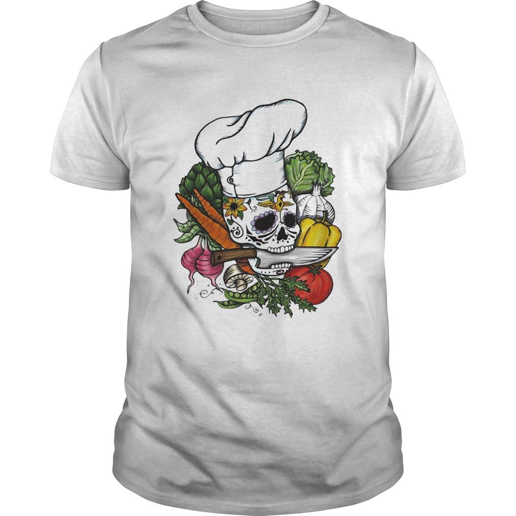 Sugar skull chef vegetables shirt Classic Men's