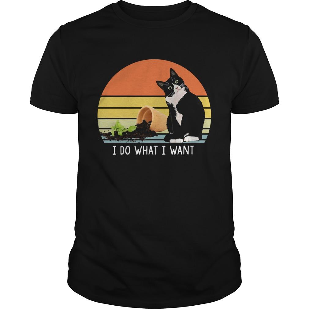 Black cat I do what I want vintage shirt Classic Men's
