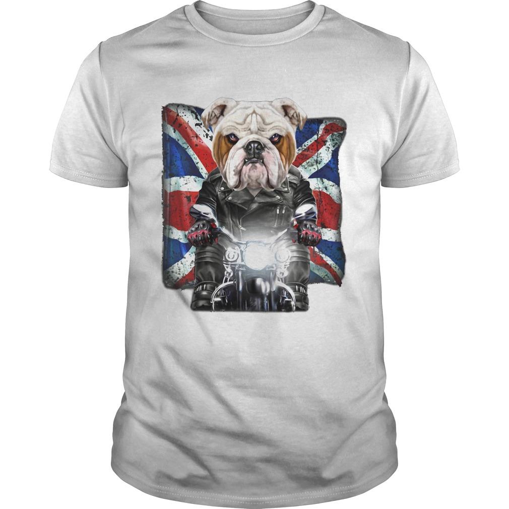 Vicious english bulldog face ride a motorcycle england flag shirt Classic Men's