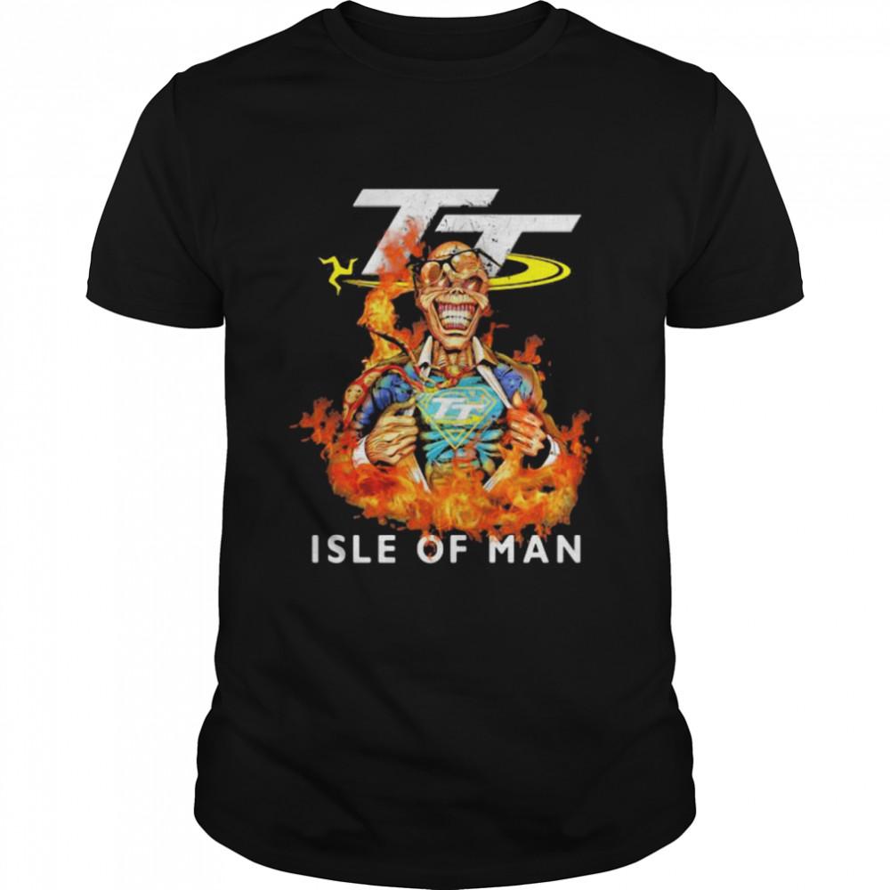 Skull Superman With Logo Isle Of Man Fire  Classic Men's T-shirt