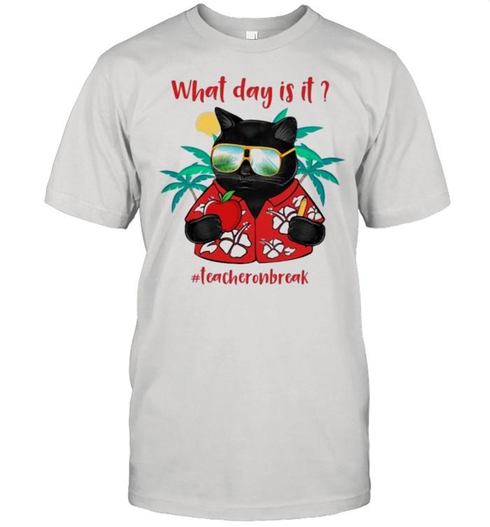 Black cat what day is it teacheronbreak shirt Classic Men's T-shirt